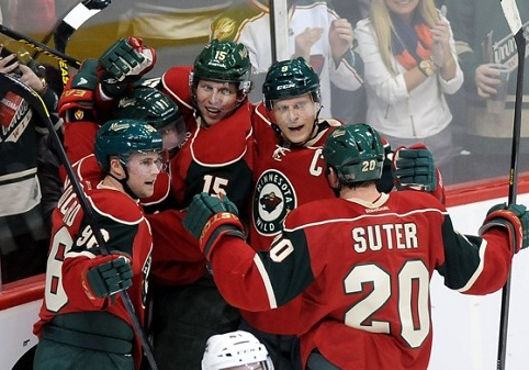 Ryan Suter and Wild Celebrate Goal