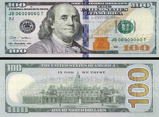 New Hundred Dollar Bill - Security Ribbon
