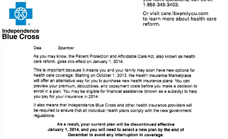 Blue Cross - Plans Cancelled - Obamacare - Affordable Care Act