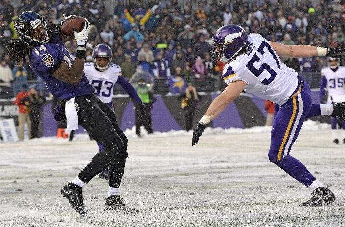 Marlon Brown - Ravens - Vikings - Snow - 2013 - Remarkable Catch