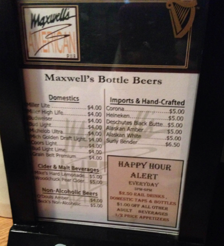 Maxwells - Minneapolis - Downtown East - Restaurant Review - Menu Options - 2014