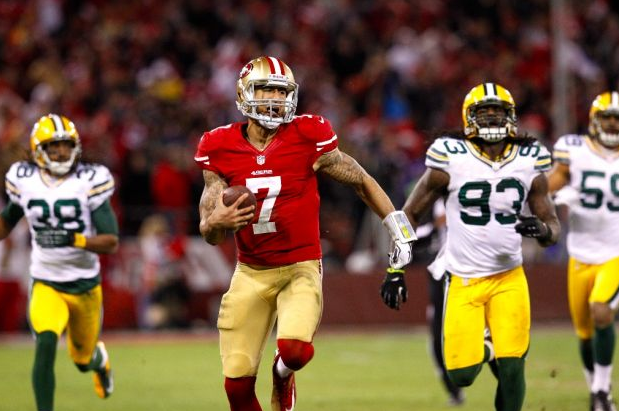 Colin Kaepernick - 49ers - touchdown - Packers - Playoffs