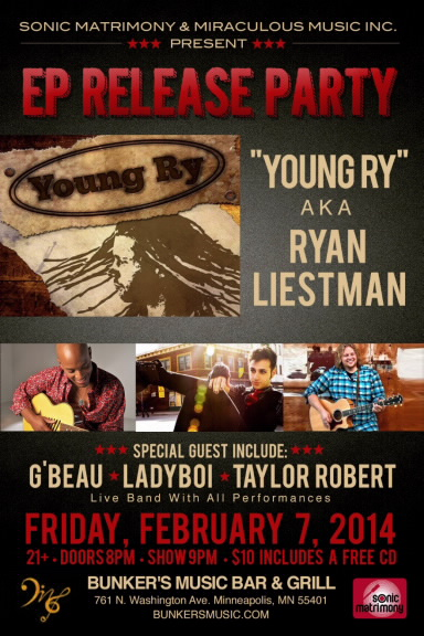 Young Ry - Ryan Liestman - Minneapolis Show - Raggae - Bunkers
