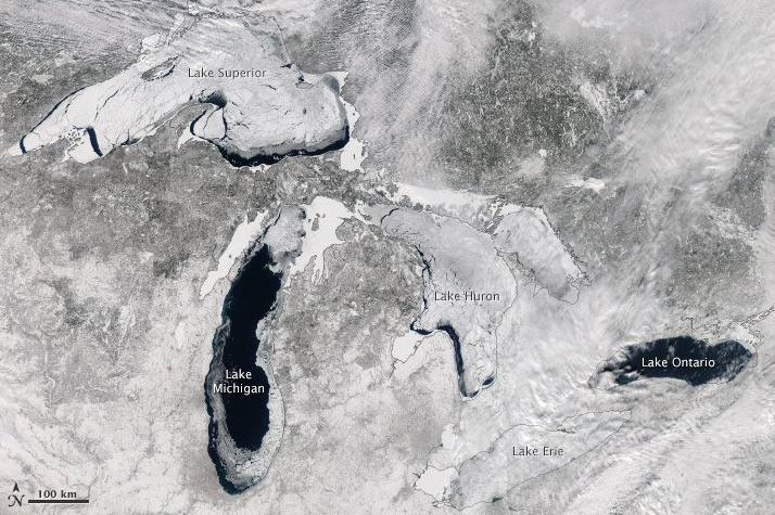 NASA Reveals Amazing Satellite Photo of Mostly Frozen Great Lakes  - labeled