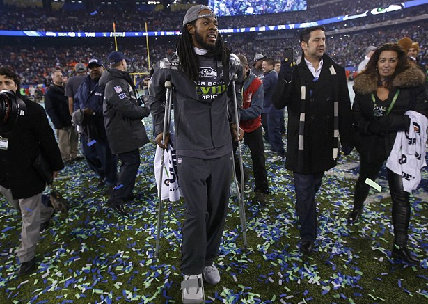 Richard Sherman - Hurt - Super Bowl - 2014 - Post Game Celebration