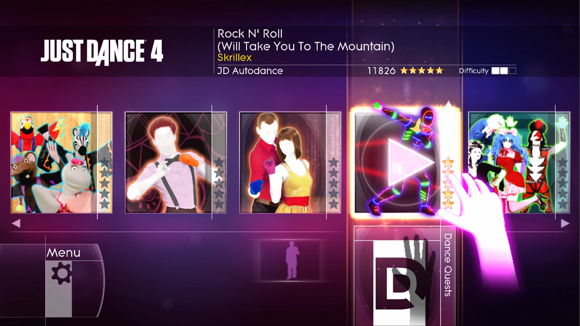 Just Dance 4 - Menu
