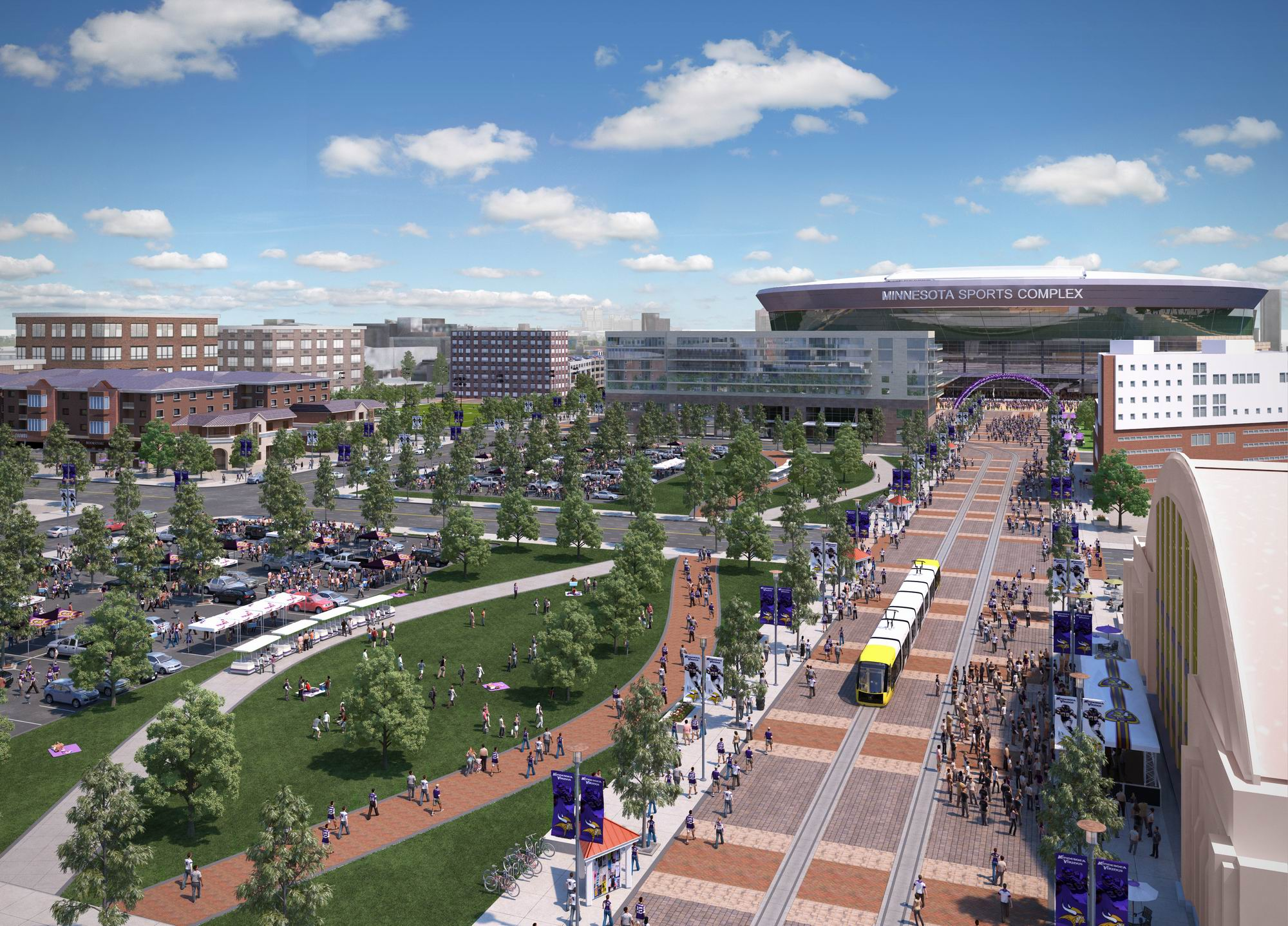 A version of the plaza, with light-rail, facing toward the stadium