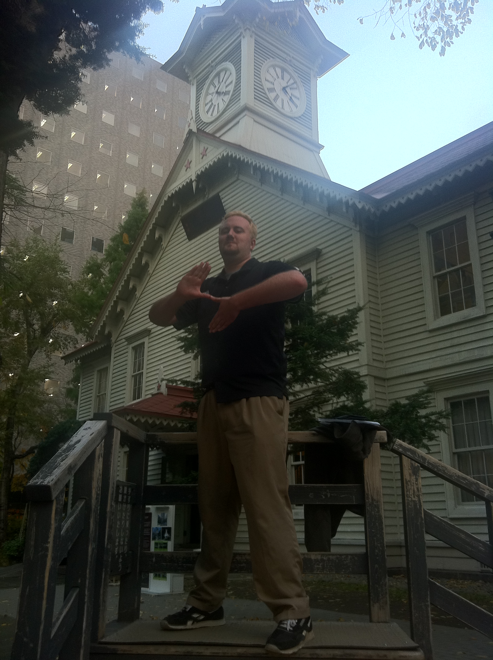 Erik infront of the Sapporo Clock Tower