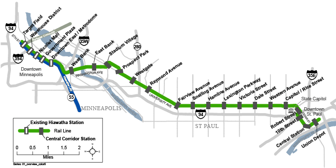 Met Council Green Line Map