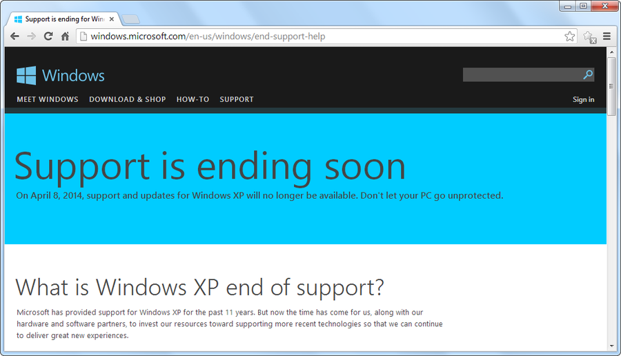 support_end Windows XP