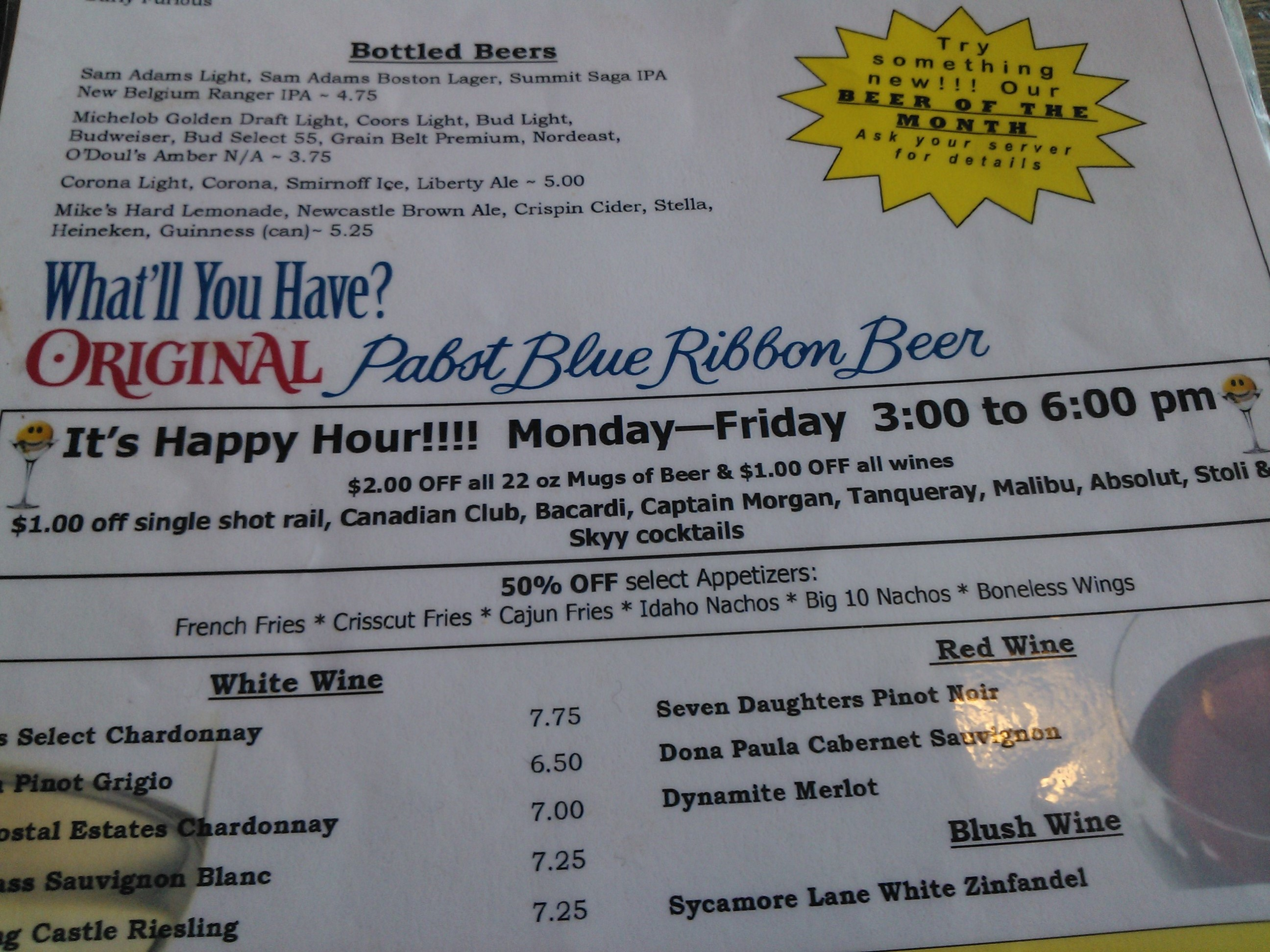 Big Ten Hopkins Happy Hour Menu