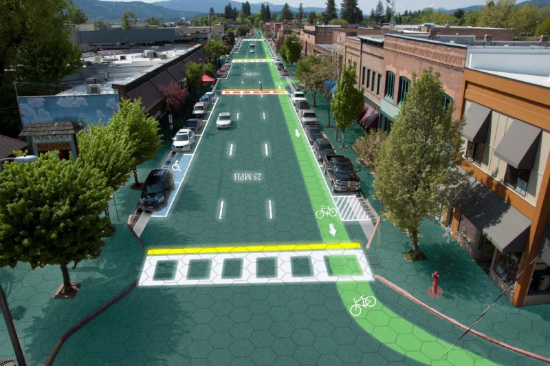 What Solar Roadways could look like (graphic design by Sam Cornett)
