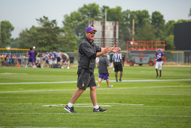 mike zimmer - vikings head coach 2014 training camp