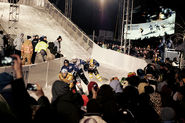 Racers Jostle for Position at Crashed Ice