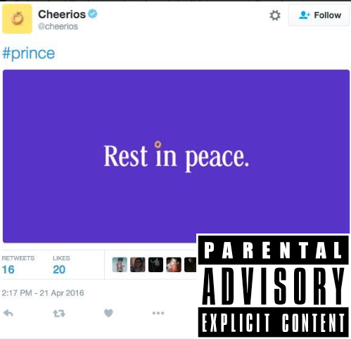 prince - cheerios - twitter - offensive