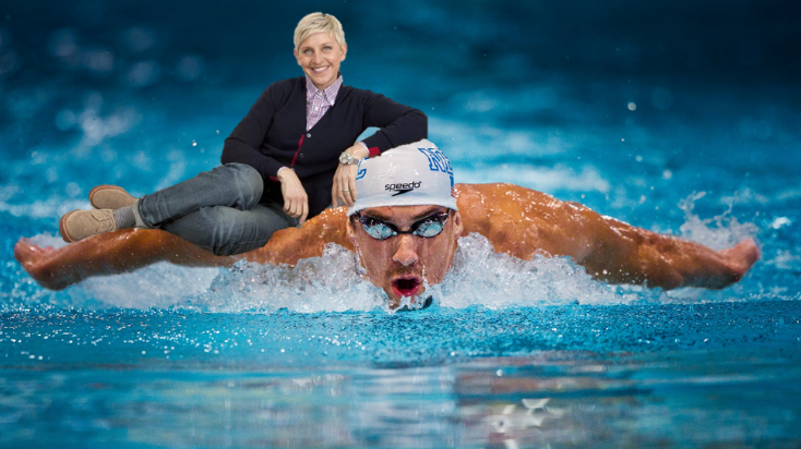 ellen riding michael phelps - racist - joke - bolt
